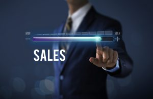 Increase sales growth with Businessman is pulling progress bar